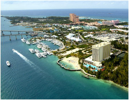 Aerial View of Paradise Island Harbour Resort, Bahamas