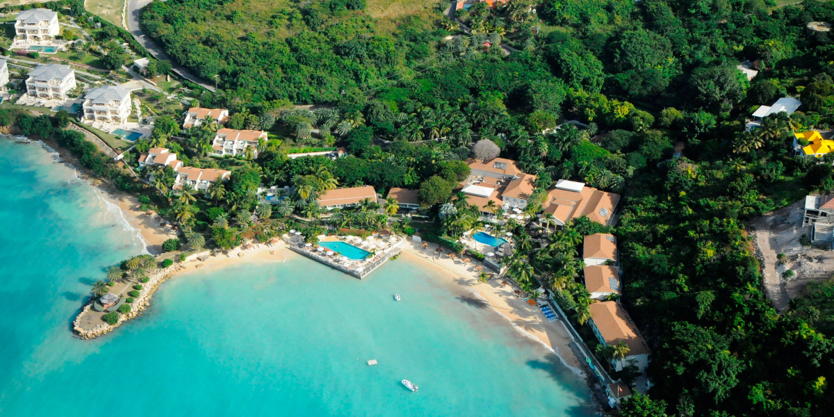 Aerial View of Blue Waters Resort in Antigua