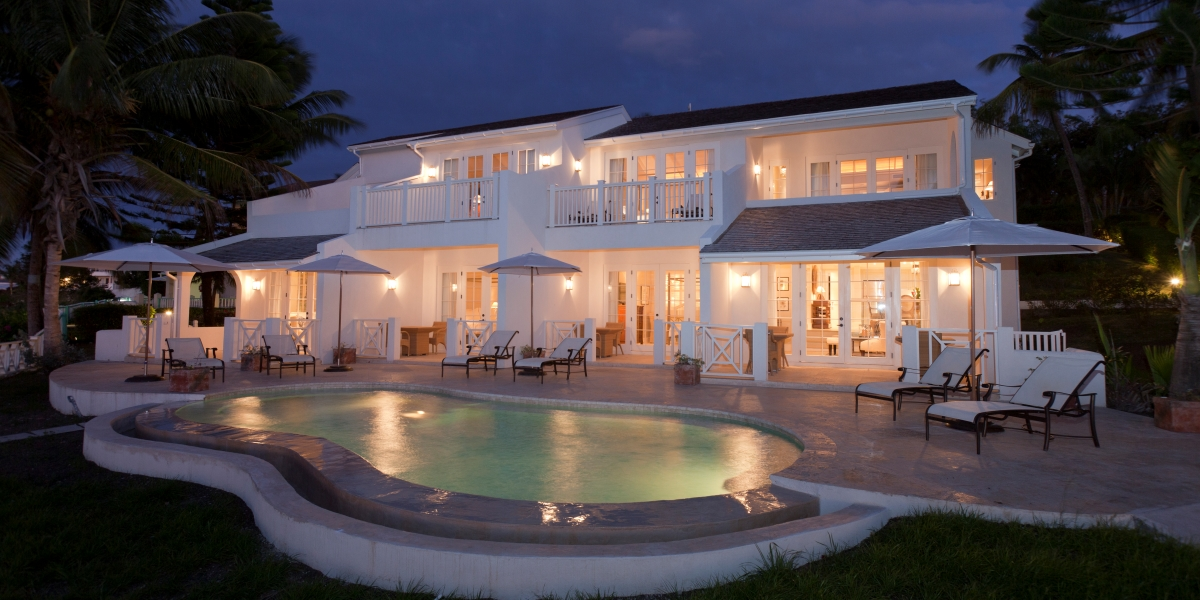 Night View of Blue Waters Resort's Pelican House in Antigua
