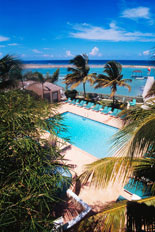 Pool and Ocean View at Coyaba Beach Resort in Montego Bay, Jamaica