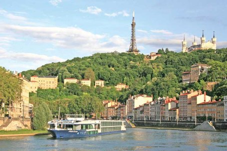 Scenery along the Rhone River in Lyon, France onboard Avalon Waterways